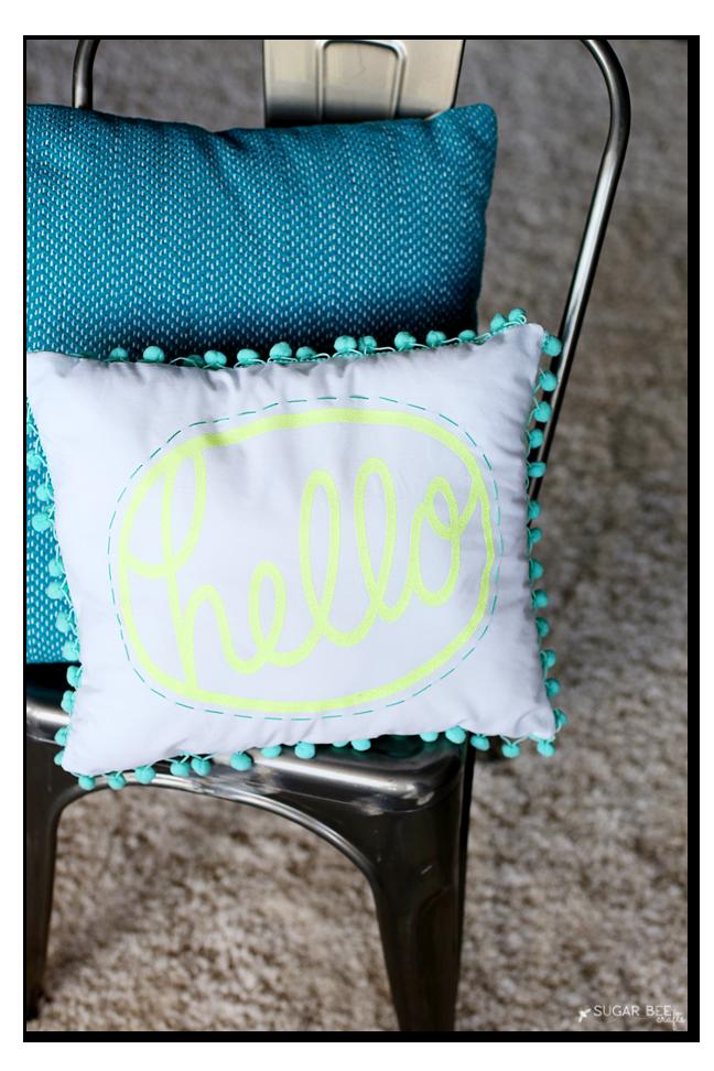 how to make a pom pom hello pillow
