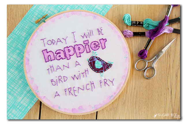 bird with a french fry embroidery