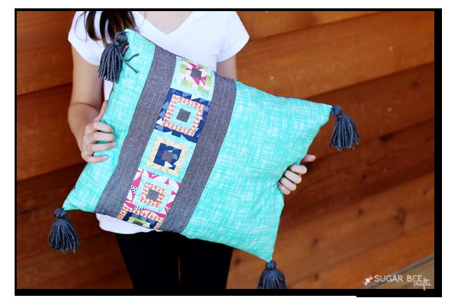 paper pieced mini quilting square pillow turq