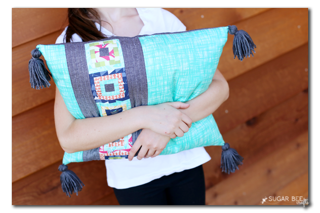 paper piecing tassle pillow gray