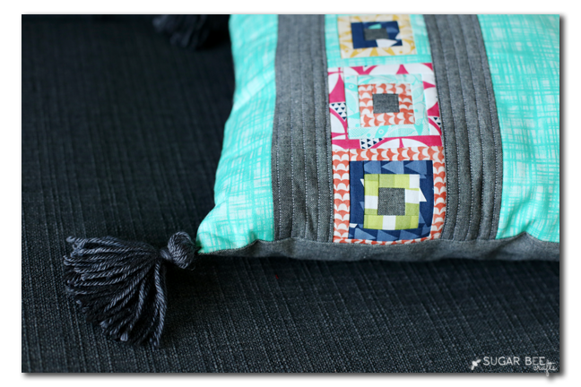 paper piecing tassle pillow