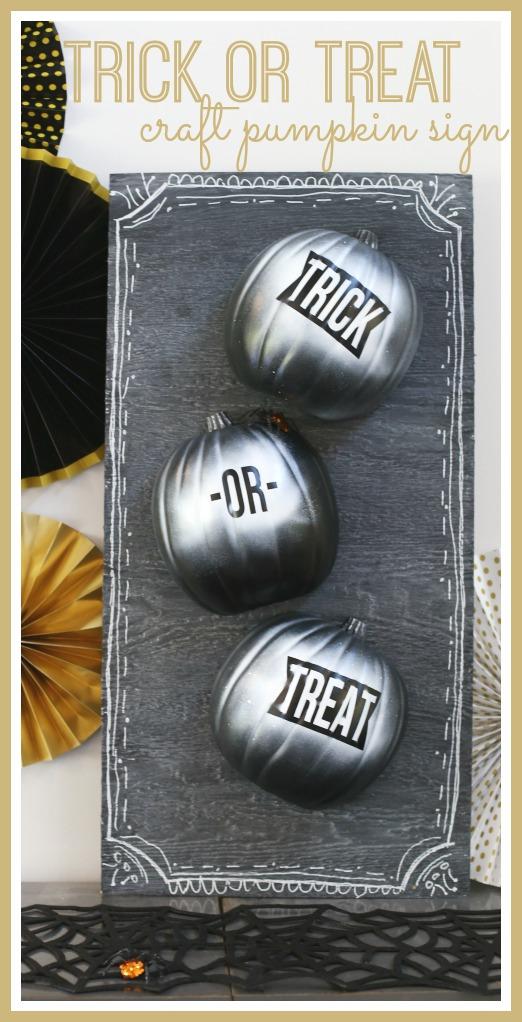 trick or treat craft pumpkin sign