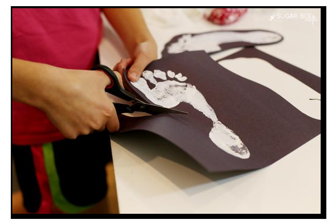 kids craft ghost foot print