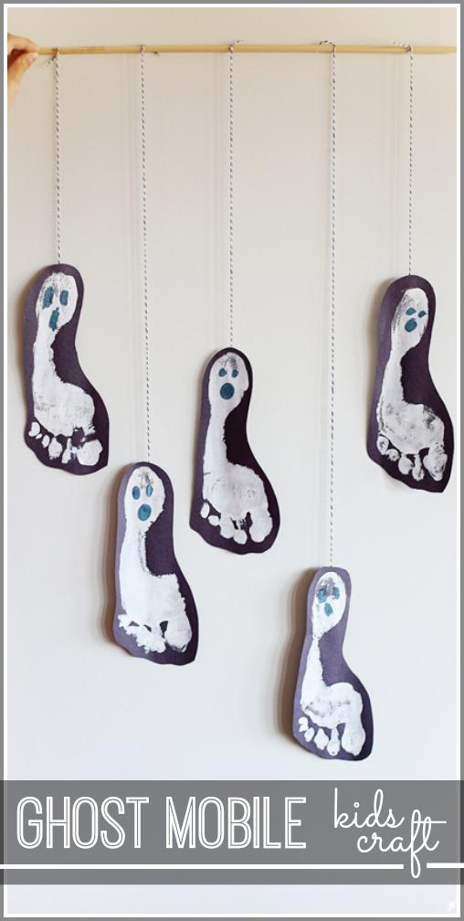 kids craft idea ghost mobile