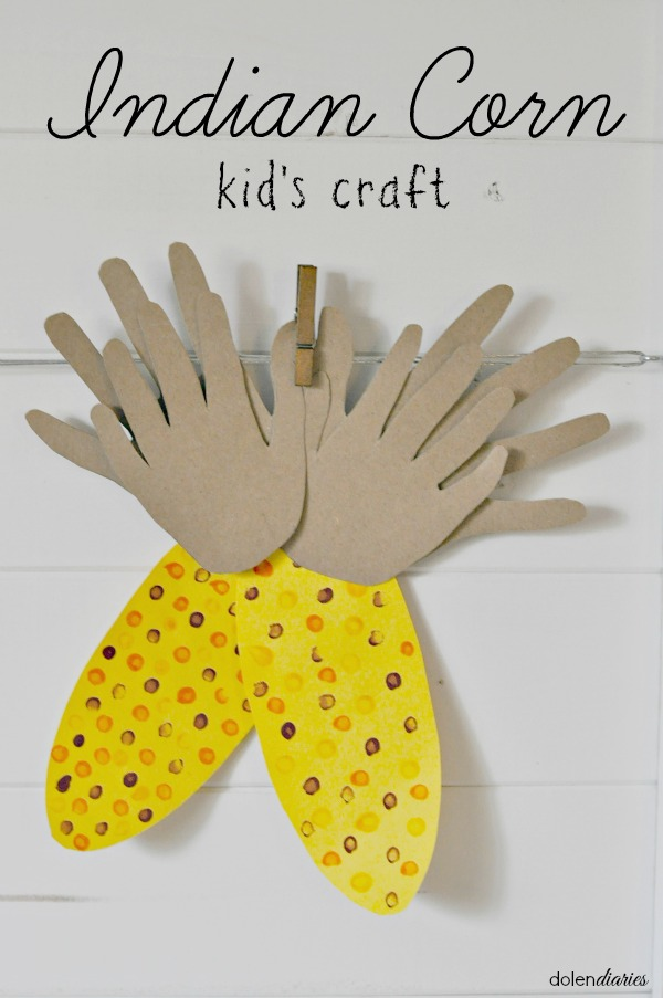 Adorable Fall Kid's Craft: Indian Corn painted with cotton swabs complete with handprint husks