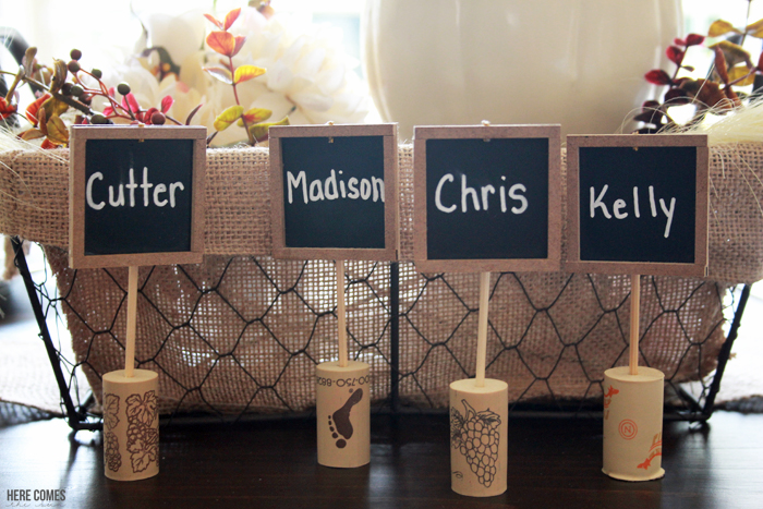 Create these fun and festive chalkboard and wine cork place cards for your Thanksgiving table.