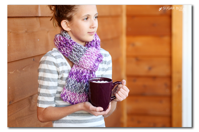 loom knit scarf tween