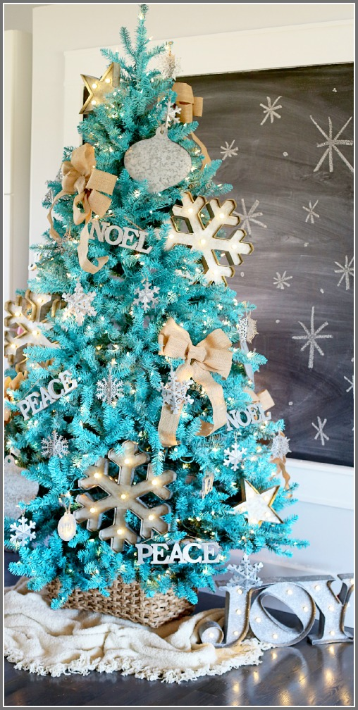 rustic modern turquoise Christmas tree