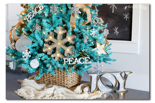 Rustic Modern Turquoise Christmas Tree Decorating Idea by Mandy Beyeler