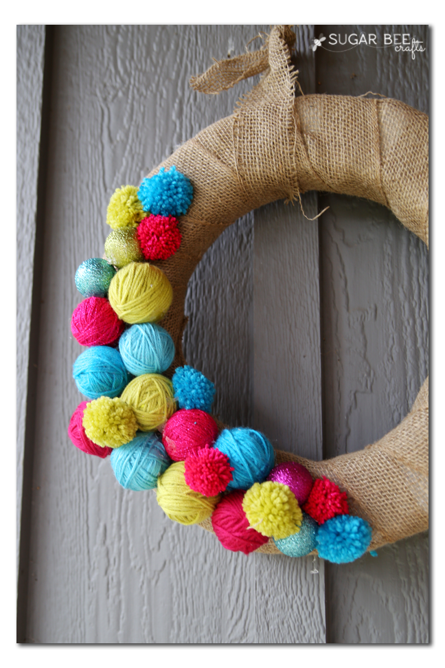 yarn ball pom pom wreath tutorial