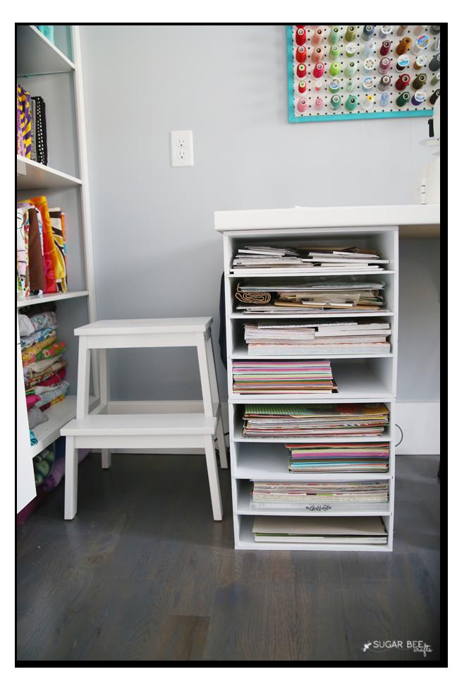 craft room paper shelves