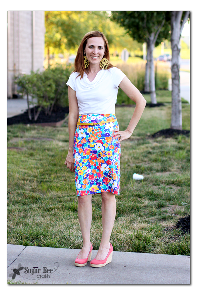 diy knit floral pencil skirt