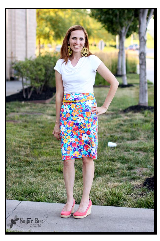 diy knit floral pencil skirt