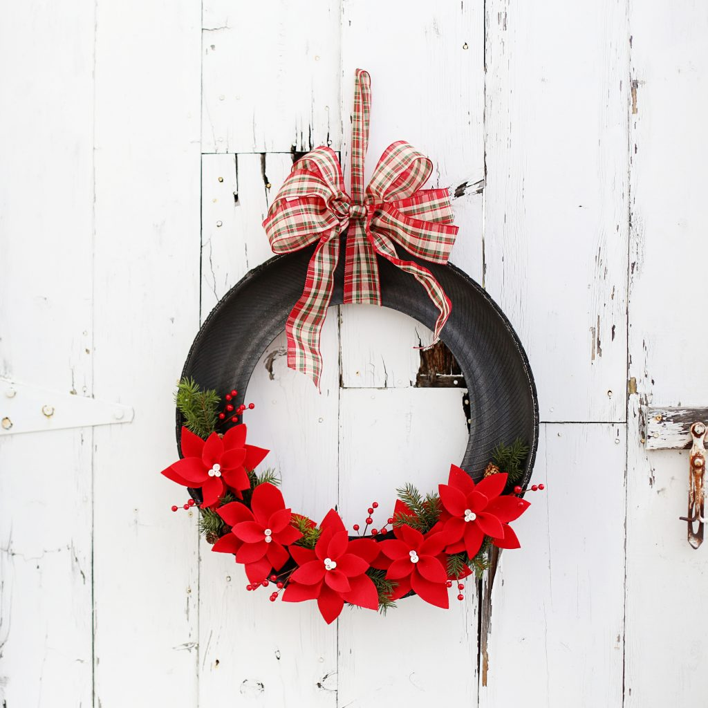 felt poinsettia tire wreath