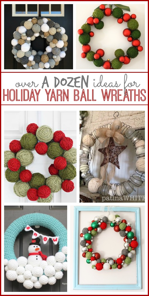 ideas for holiday yarn ball wreaths