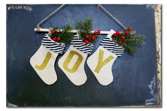 joy stockings decor