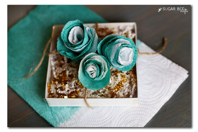 paper towel flowers gift wrap topper