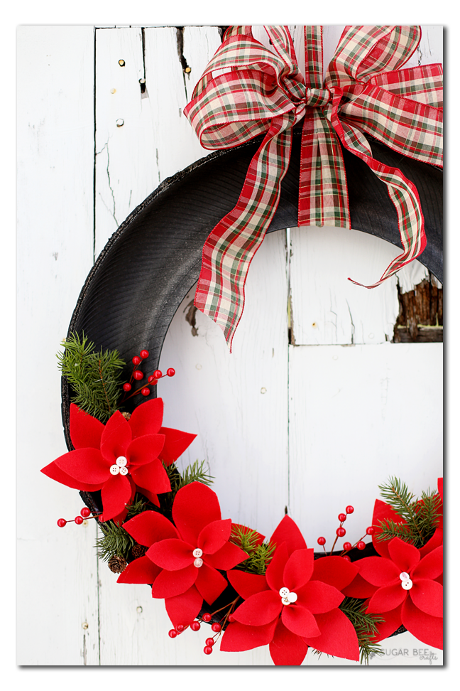 tire poinsettia wreath
