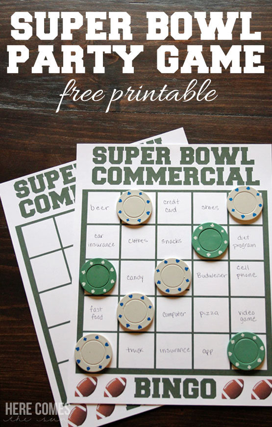 image about Printable Super Bowl Bingo Cards identified as Tremendous Bowl Celebration Match: Industrial Bingo - Sugar Bee Crafts