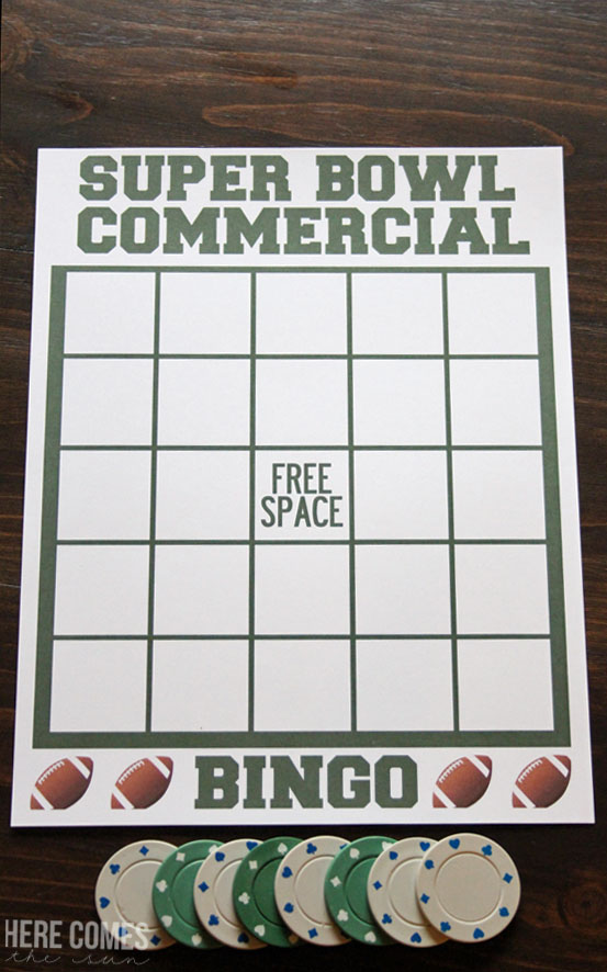 What a great idea for my Super Bowl Party! Super Bowl Commercial Bingo!