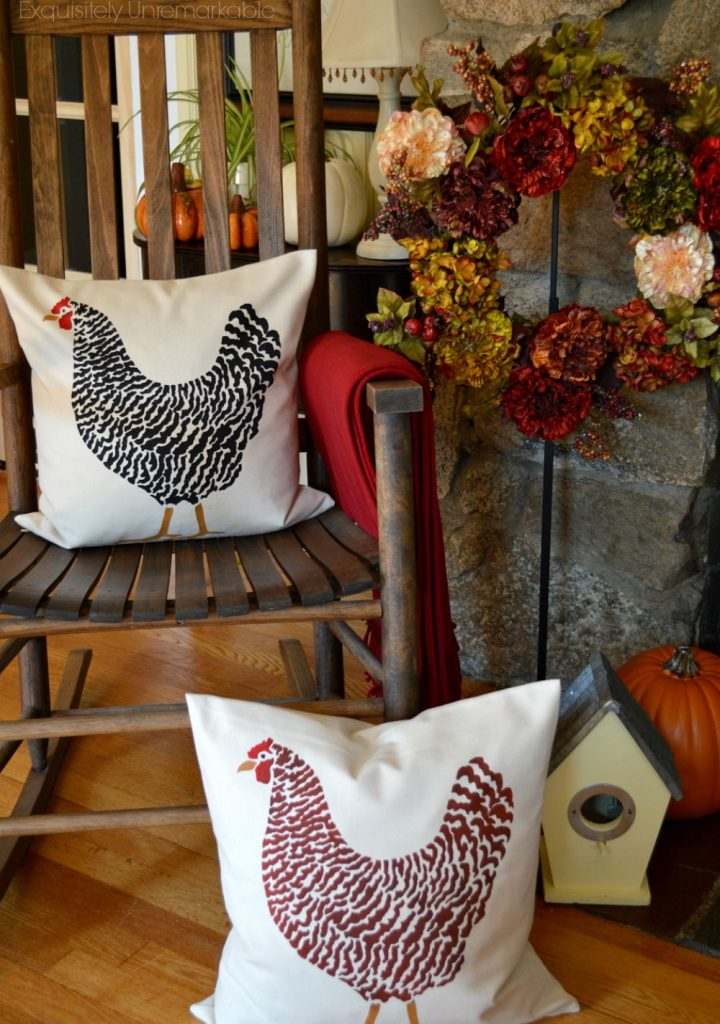 DIY Stenciled Pillow Roosters