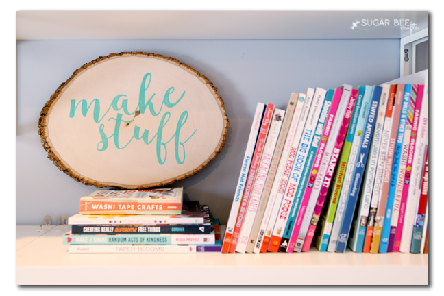 crafty bookshelf decor