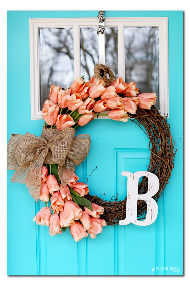 make your own spring wreath with tulips