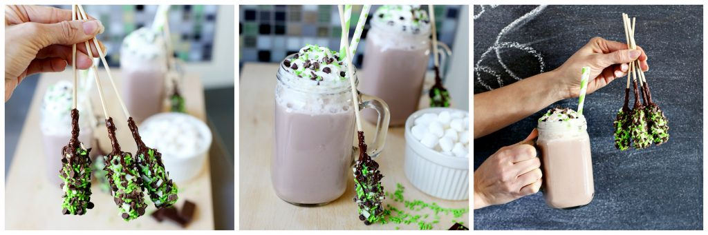 mint chocolate chip hot chocolate stirrers