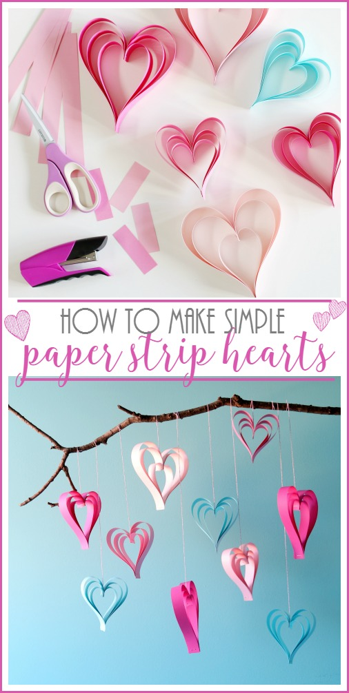simple paper strip hearts