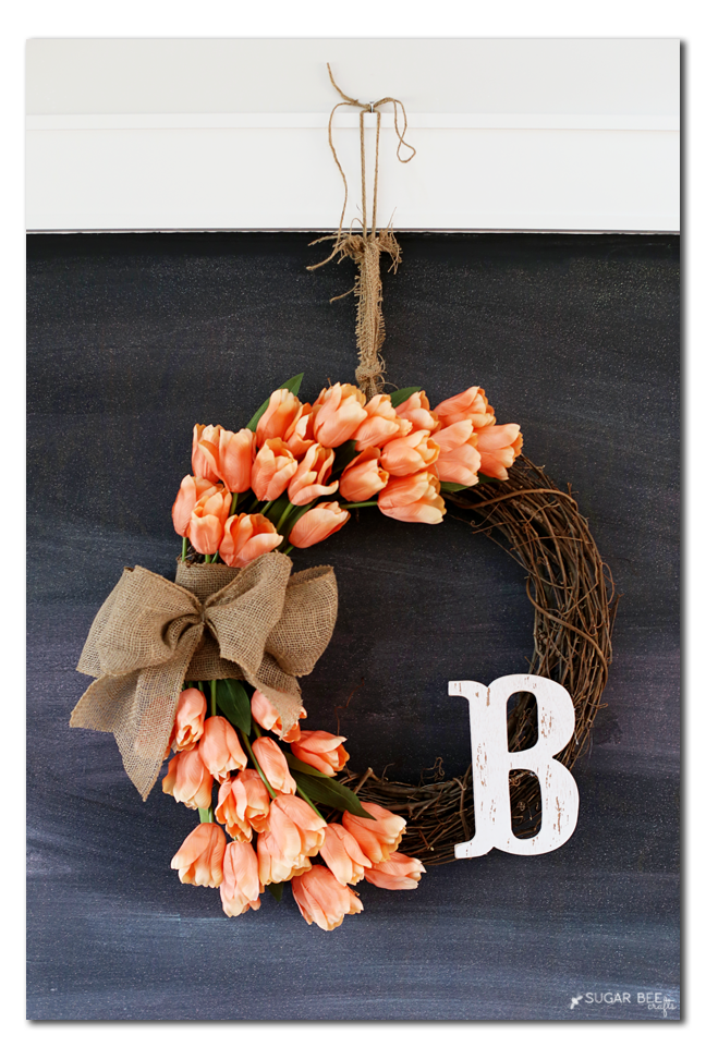 tulip wreath chalkboard idea