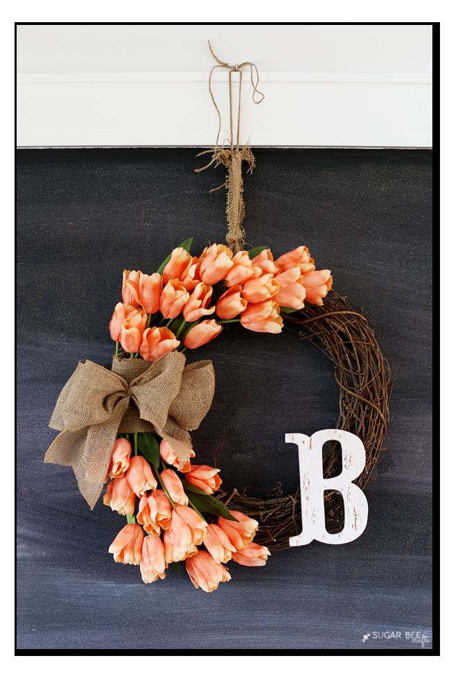 tulip wreath chalkboard idea