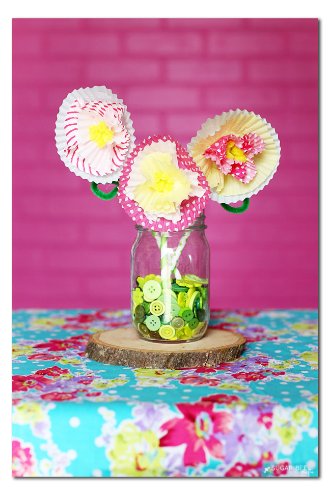 cupcake liner flower spring craft for kids