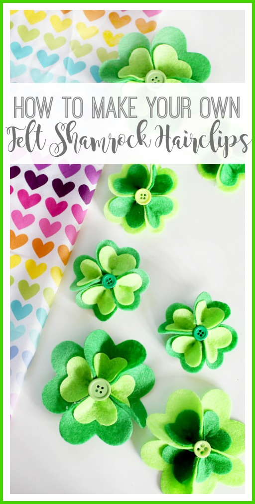 felt shamrock hairclips