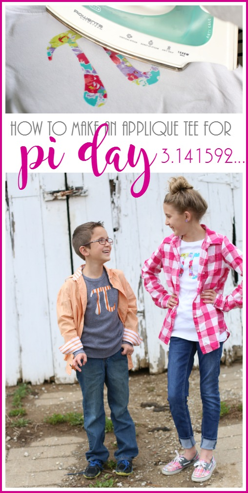 make your own pi day applique tee