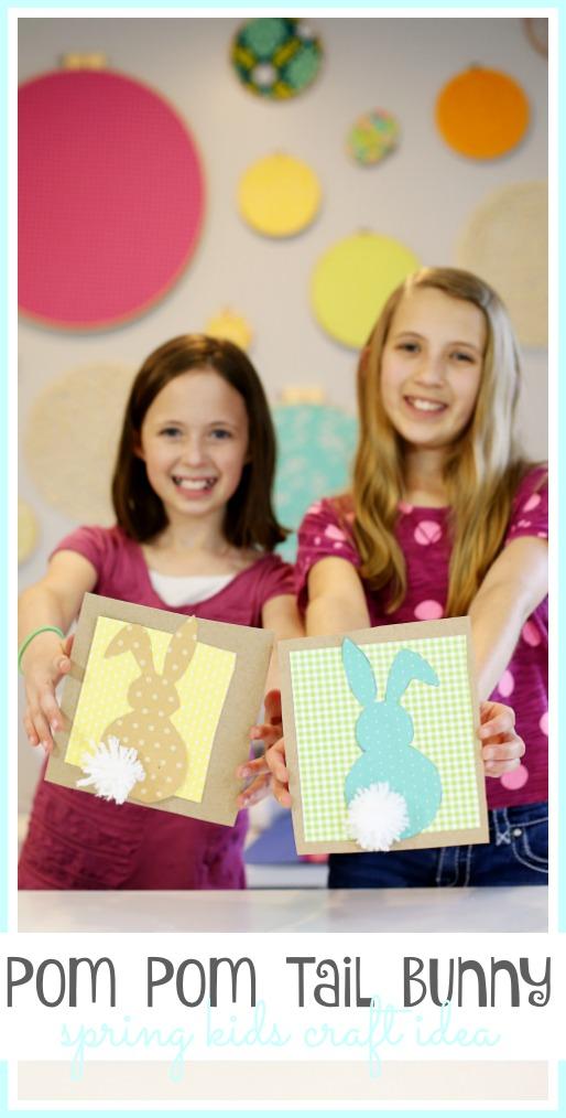 spring kids craft idea pom pom tail bunny