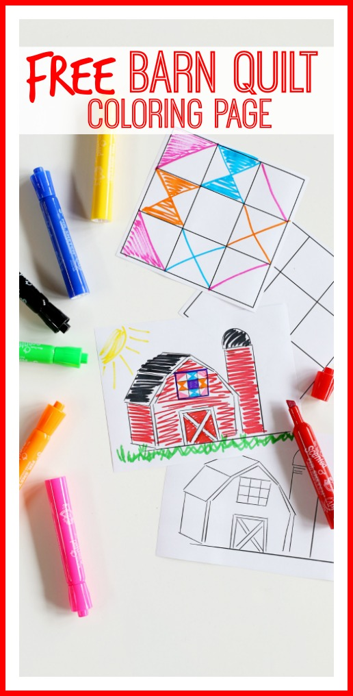 barn quilt coloring page free
