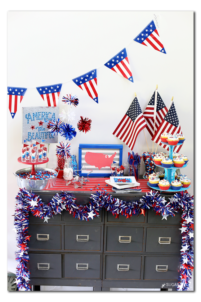 candy tablescape red white and blue patriotic summer