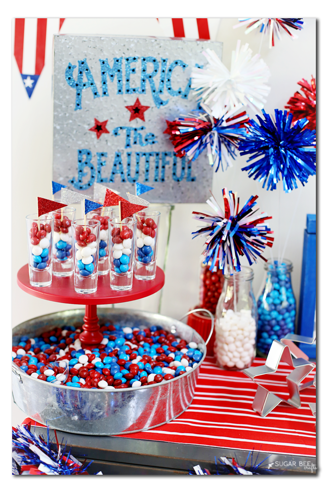 red white blue candy bar set up
