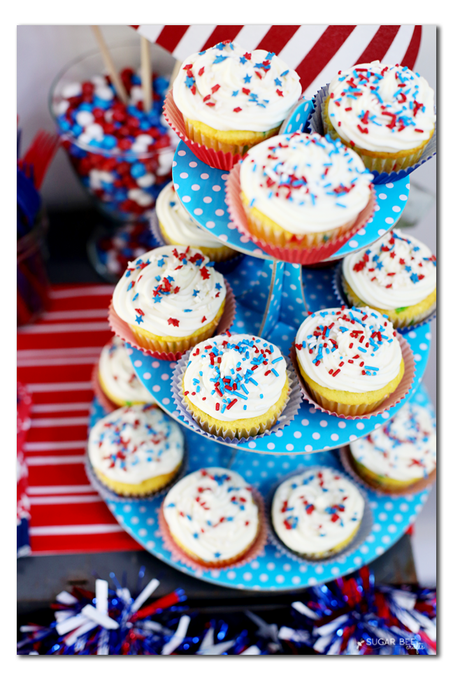 red white blue cupcake tier set up tablescape