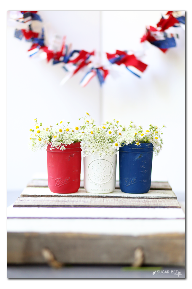 how to make red white blue patriotic mason jar decor