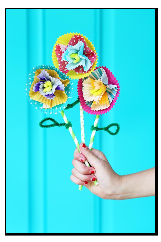 kids craft cupcake liner flowers diy