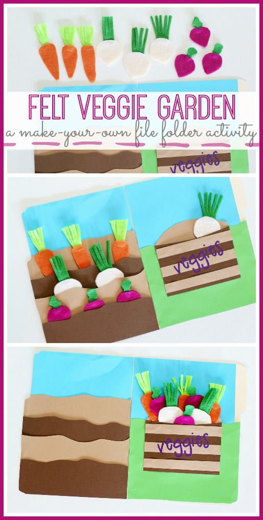 make your own felt veggie garden file folder activity