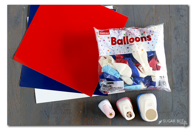 red white blue balloons
