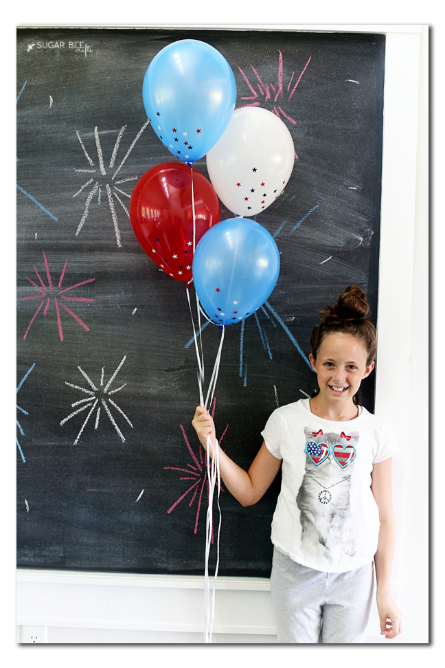 red white blue confetti vinyl balloons