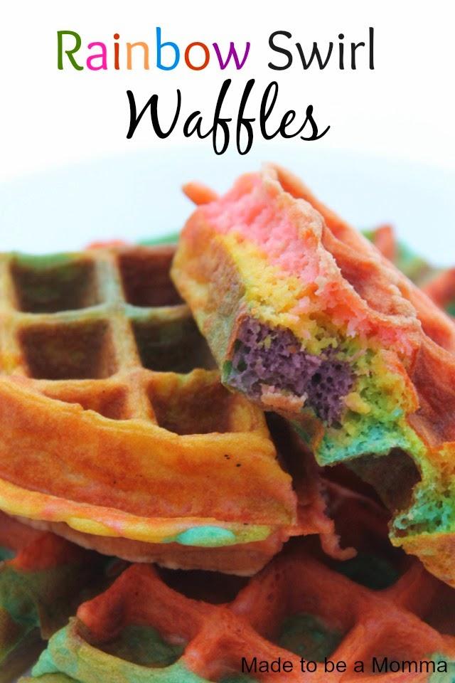 Rainbow Swirl Waffles Made to be a Momma