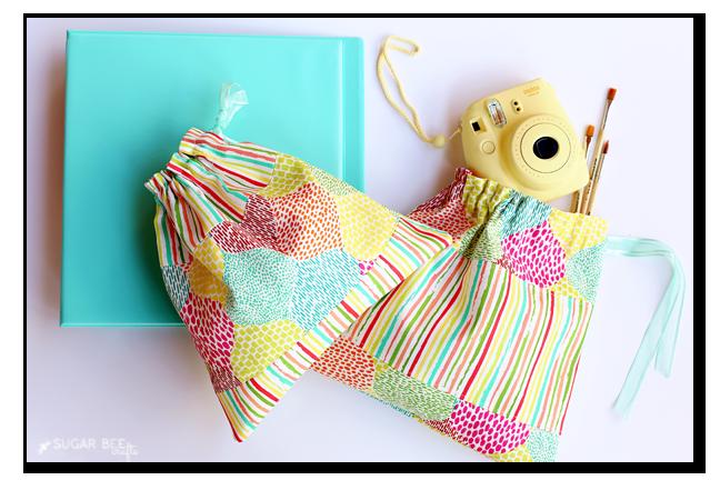 fabric blocked drawstring bag free pattern tutorial