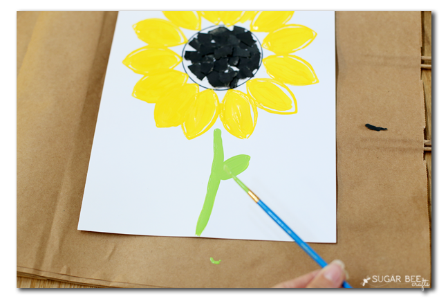 kids craft paint a sunflower