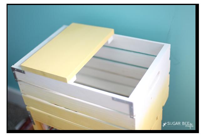 crate nightstand top diy