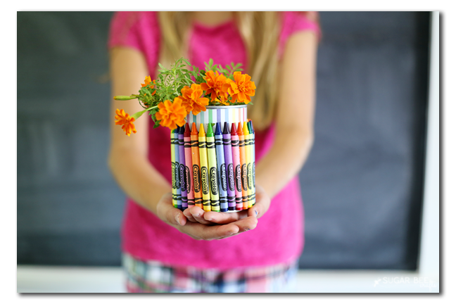 diy crayon vase teacher gift idea