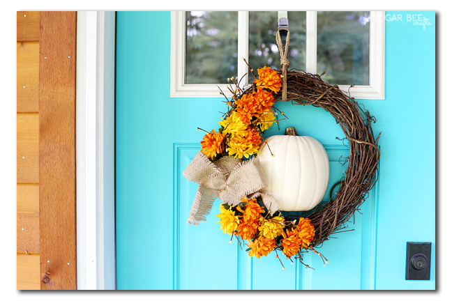 fall floral pumpkin wreath idea
